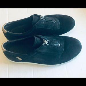 Ecco Black Suede Zip Front Sneakers Flats 7
